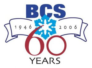 """Logo for the 60th anniversary of BCS, showing a large red """"60"""" underneath a blue snowflake."""