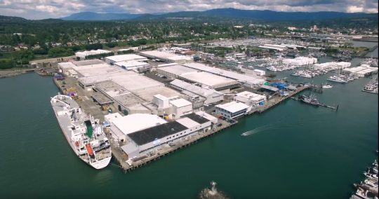 Aerial view of BCS Roeder campus on the Bellingham waterfront.