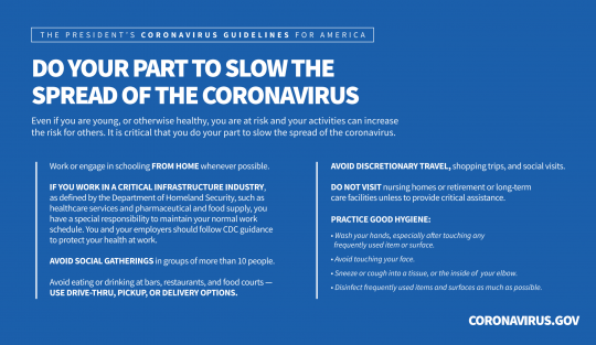 Information related to slowing the spread of COVID-19.