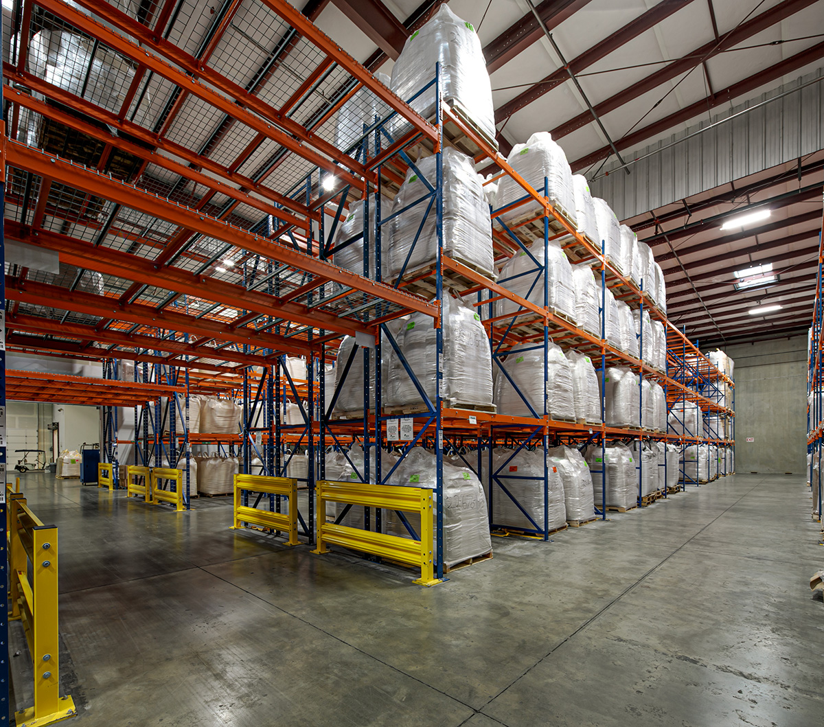 Racks of goods in dry storage at BCS.
