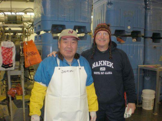 Tom Scott, right, with Shimiku, a caviar technician who works for Nichirei Foods Japan.